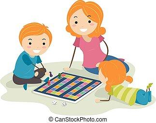 illustration, maman, planche, stickman, jeu gosses