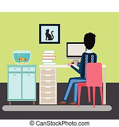 illustration man sitting in the room at a desk and working on the computer Back view.