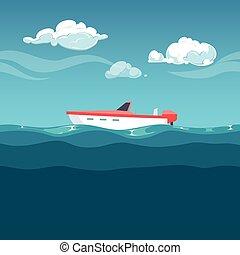 illustration., mar vermelho, ondas, balanço, bote