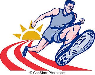 Marathon runner on track with sunburst - illustration...