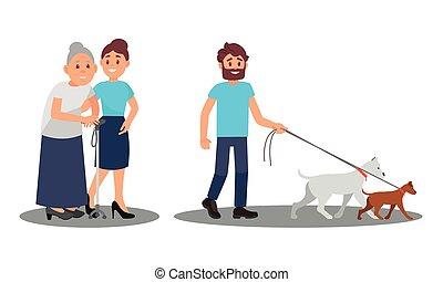 illustration, marche, ensemble, portion, gens, vecteur, personne agee, caractères, chiens
