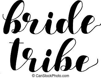 illustration., mariée, brosse, tribe., lettrage