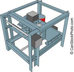 illustration, maskin, vektor, cnc, bakgrund, vit