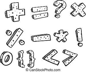 illustration., math, fondamental, symbole, sketch., vecteur