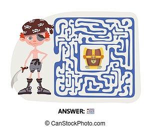 illustration., maze., 困惑, 宝物, map., 子供たちのゲーム, ベクトル, 子供, 海賊