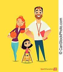 illustration., medicinsk, ung, handikappat, sportsmen's., träning, vektor, handisport., rehabilitation., kids.