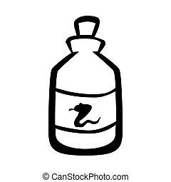 illustration., medisch, vergiftigen, vector, slang, fles,...