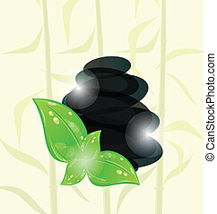 Illustration meditative bamboo background with cairn stones and eco green leaves - vector