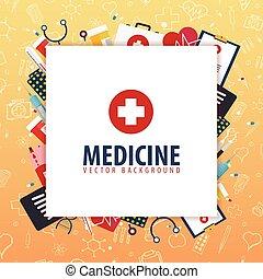 illustration., medyczny, tło., wektor, zdrowie, medycyna, care.