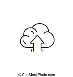 illustration., meldingsbord, concept., symbool, hoog, vector, opvoering, lijn, pictogram, lineair