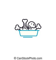 illustration., meldingsbord, drumsticks, concept., symbool, vector, kippenpictogram, lijn, lineair
