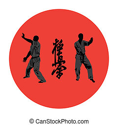 Illustration, men are engaged in karate