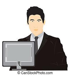 Illustration men for computer