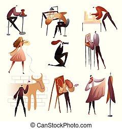 illustration., mensen, verzameling, hun, vector, hobbies.,...