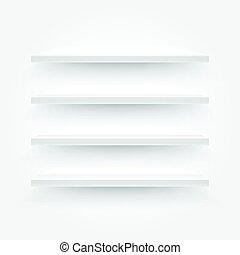 illustration., mensole, contenuto, vettore, sagoma, bianco, vuoto