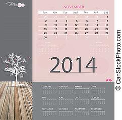 illustration., mensualmente, calendario, november., vector, ...