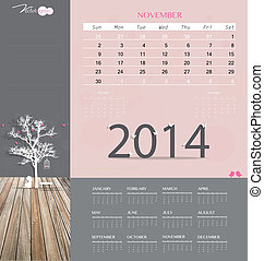 illustration., mensuel, calendrier, november., vecteur, gabarit, 2014, calendrier