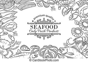 illustration., menu restaurant, fruits mer, main, vecteur, dessiné