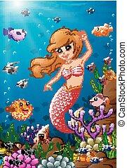 Illustration mermaid under the sea