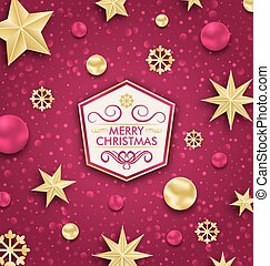Merry Christmas Banner with Glitter Decoration