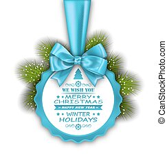 Merry Christmas Elegant Card with Bow Ribbon