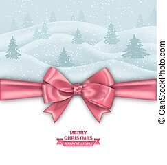 Merry Christmas Greeting Card with Bow Ribbon