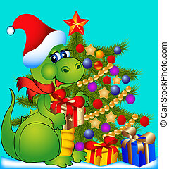 dragon with fir tree and gift - illustration merry dragon...