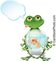 frog and a goldfish