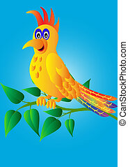 merry parrot on branch with sheet
