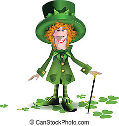 saint Patrick - illustration merry saint Patrick in a green ...