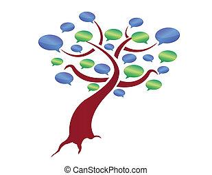 illustration, message, arbre, conception