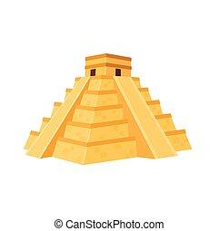 illustration, mexcian, pyramide