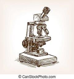 illustration, microscope, vecteur, style, croquis