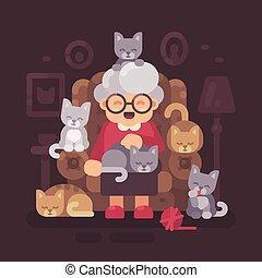 illustration, mignon, vieux, elle, séance, fauteuil, chatons, plat, chat, cinq, cats., grand-maman, dame