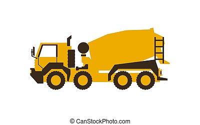 illustration., mixer., lustroso, machinery., concreto, vetorial, construção, style., ícone