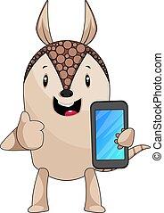 illustration, mobile, arrière-plan., vecteur, tatou, téléphone, blanc