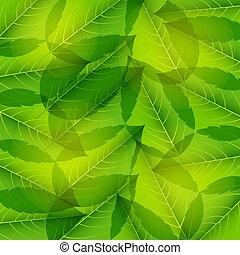 illustration., modèle, leaves., seamless, vecteur, vert