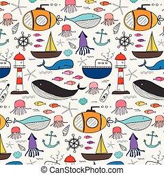 illustration., modèle, main, arrière-plan., vecteur, mer, dessiné