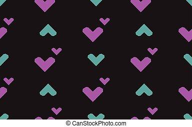 illustration., modèle, seamless, arrière-plan., vecteur, noir, cœurs
