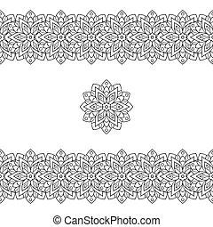illustration., modèle, tribal, pattern., seamless, vecteur, noir, ethnique, horizontal, ou