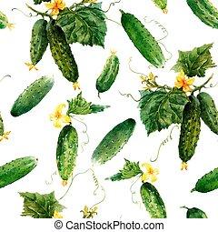 illustration., modèle, vecteur, aquarelle, cucumbers., seamless, légume, beau, stockage, été