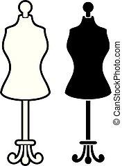 illustration), moda, indossatrice, vettore, stare in piedi, torso, (female