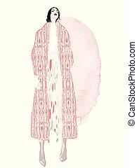 illustration., moda, vector