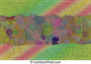 illustration., &, model, abstract, title., vorm, onderschrift, digitale , creativiteit, achtergrond, leeg, ontwerp, naam, of