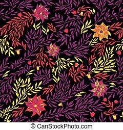 illustration., model, seamless, achtergrond., vector, black , floral