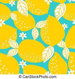 illustration., model, seamless, vector, lemons., geheel