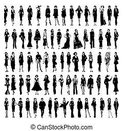 illustration., modellen, path., vector, gaan, jurkje