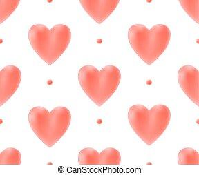 illustration., modello, seamless, valentina, day., vettore, fondo, cuori, bianco rosso