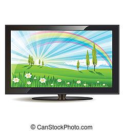 illustration, modern black television set on white background