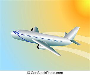 modern plane flying to sky